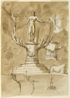 At center, the figure of an athlete standing on a round pedestal standing upon a stepped base. Two branches on either side. Surrounding sketches.