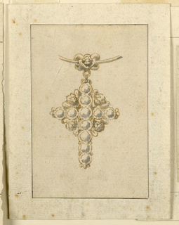 Drawing, Design for pendant in form of cross, 16th century