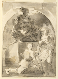 The Virgin and Child enthroned with Worshippers in Classical Interior.