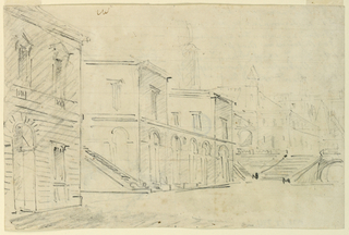 Horizontal rectangle. Direction as in -7460. At left are two mansions and two stairs. The background with structures of different kinds, including a pyramid and a triumphal column upon a higher level; broad stairs are leading to it and a bridge crosses the lower street. On the reverse, sketches, in pencil, in vertical direction; at left, a clockcase, with two standing figures, flanking the dial, supported below by a kind of chalice; at right, a candlestick, with a pilllar as foot.
