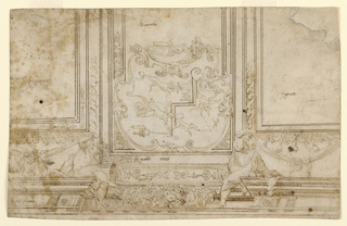 Design for a painted ceiling featuring two putti at left and right holding drapery that supports garland of fruit and leaves below. On ceiling, partially completed design for painting including figures, animals, and angels. Highly decorated with various options for patterns including a Greek key border.