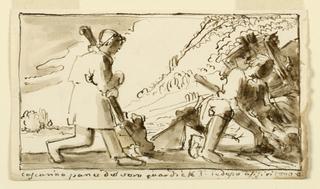 Solders or workers in landscape.