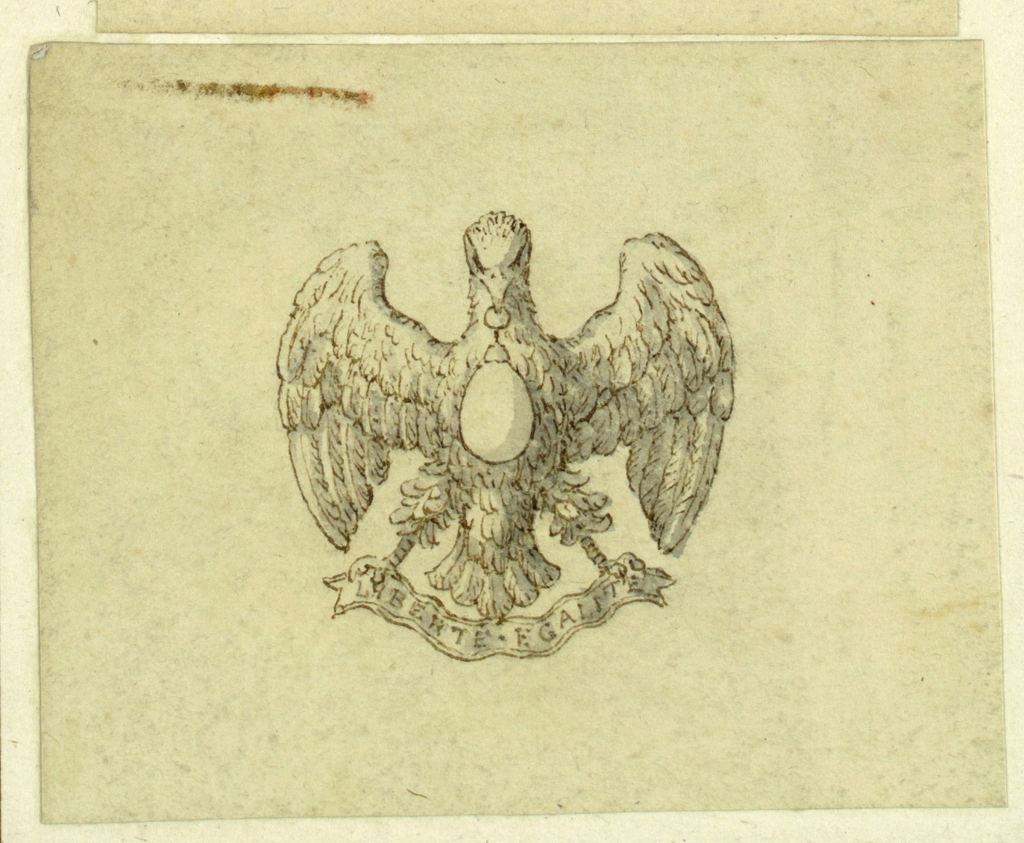 Jewelry design for a brooch. An eagle with spread wings, supporting with his beak a teardrop-shaped diamond, and in his claws a scroll with the inscription: LIBERTE EGALITE