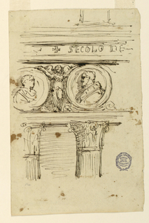 Architectural details. Capitols of two Corinthian columns and section of freize on which two busts apear in profile, encircled with a female figure between.