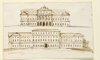 Two elevations of facades for a palace building. At top, an elevation with five arches in the center of the first floor, a Doric order in the main floor, and a sepulchral group above the attic. At bottom, the structure is larger than above, with the central part higher than the other storeys.