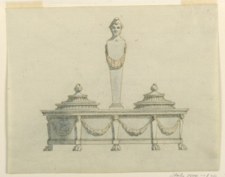 Horizontal rectangle. Design for an inkstand, an ovoid base supported by the lion feet of hermae, of which five are visible. It has the shape of an entablature with festoons supported by the hermae, in the frieze. The handle is a hermae with the head of a bearded man with a pointed cap, and a festoon. Beside are two molded covers below crossed branches, in circle. At the upper edge are scrolls of a monogram.