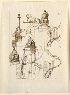 Drawing, Monument, column and spiral staircase