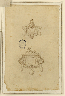 Two designs for rectangular brooches with seated figures at top and pendant drop below.