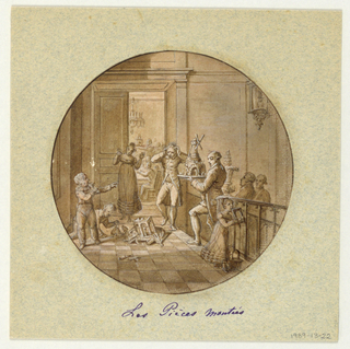 Design for a painted porcelain plate, rondel. Scene in a hallway at the top of stairs, at right. Two male figures are carrying up the stairs large tiered cakes; one in the form of a windmill, the other in the form of a planted jardiniere.  A third cake in the form of a medieval chapel including sculptural niches, has fallen to the floor, center middleground.  Two children, in the left foreground; one picks up the pieces, the other points his finger in the direction of a horrified man. This man and a woman, rear center, express their dismay. Through a doorway, rear center, people are seated at a table.