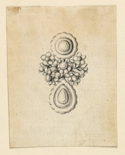 Jewelry design for an earring. Above a disk, below a drop, connected by branches with beads and blossoming flowers.