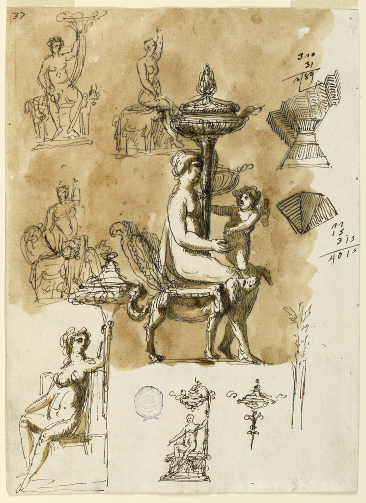 Drawing, Oil lamp