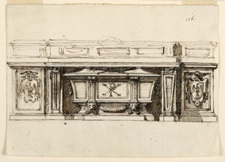 Drawing of a centraly projecting altar mensa with two alternative suggestions for the lateral pillars. The right one applies a baluster form. The sarcophagus is angular. In the central panel is the monogram of Christ; crossed palm branches are on the cover. Two lions heads are connected by a festoon. In the panels of the lateral parts are escutcheons displaying a prelate's coat of arms with an eagle.