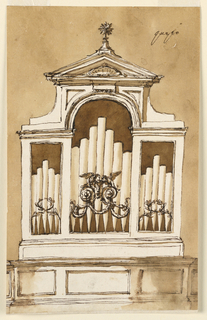 """Vertical rectangle. A variation of -1355, the central compartment being framed above the arch. In front of its pipes are two scrolls with festoons and two birds drinking from a blossom. Written above at right, by the man who had to make the choice: """"questo"""". Colored wall."""