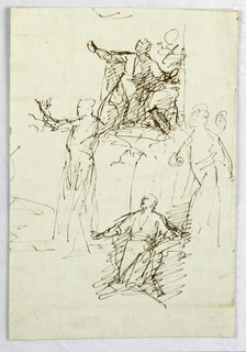 Four sketches of a figure in reverence.
