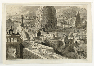 Horizontal rectangle. Hindustan town with building complex, multiple buildings, possible temples.