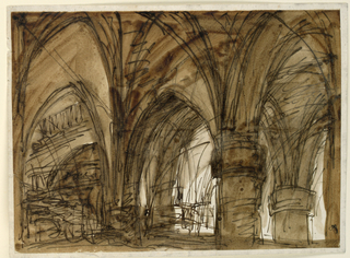 Drawing, Interior of Gothic vault