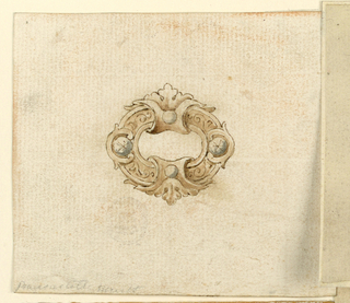 In oval escutcheon with two pearls and four brilliants upon a frame. Space at the center.