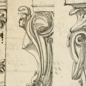 Top row: three left corners of entablature, on top of walls, the left edges of which have the shape of a dolphin and a mask, a volute, with the bust of a fantastical woman, being transformed into a dolphin, a volute with a drapery festoon, and a palmette, respectively. Vases below. Bottom row: an entablature is supported by a harpy and a pilaster strip, the upper end of which is square and shows a rosette; a console. On verso: accounting figures.