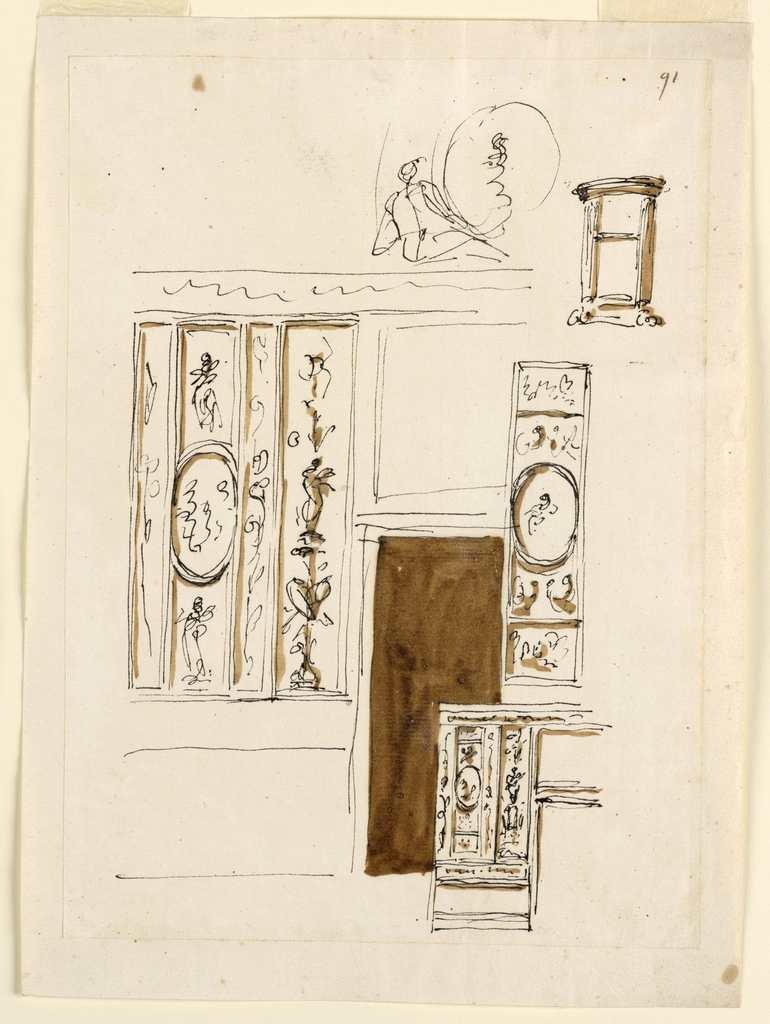 Drawing, Wall decoration; console table
