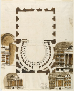 Vertical format. Ground plan of theater and four sections showing boxes and decoration of side walls.