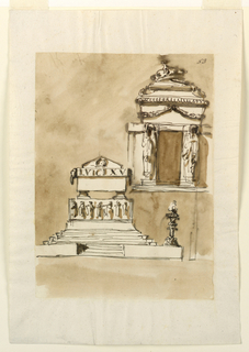 Drawing, Two monuments of King Louis XVI of France