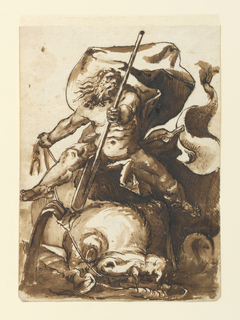 Figure of Neptune or Poseidon after a woodcut by Hendrik Goltzius. Neptune, holding a paddle, is seen astride a dolphin, which he guides with reins.
