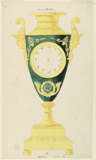 Design for a large clock.  Intended to be executed in green and gilded bronze.  The dial is in the body of a vase which has a high foot and two female heads with horns as handles.  Inscriptions above and below.