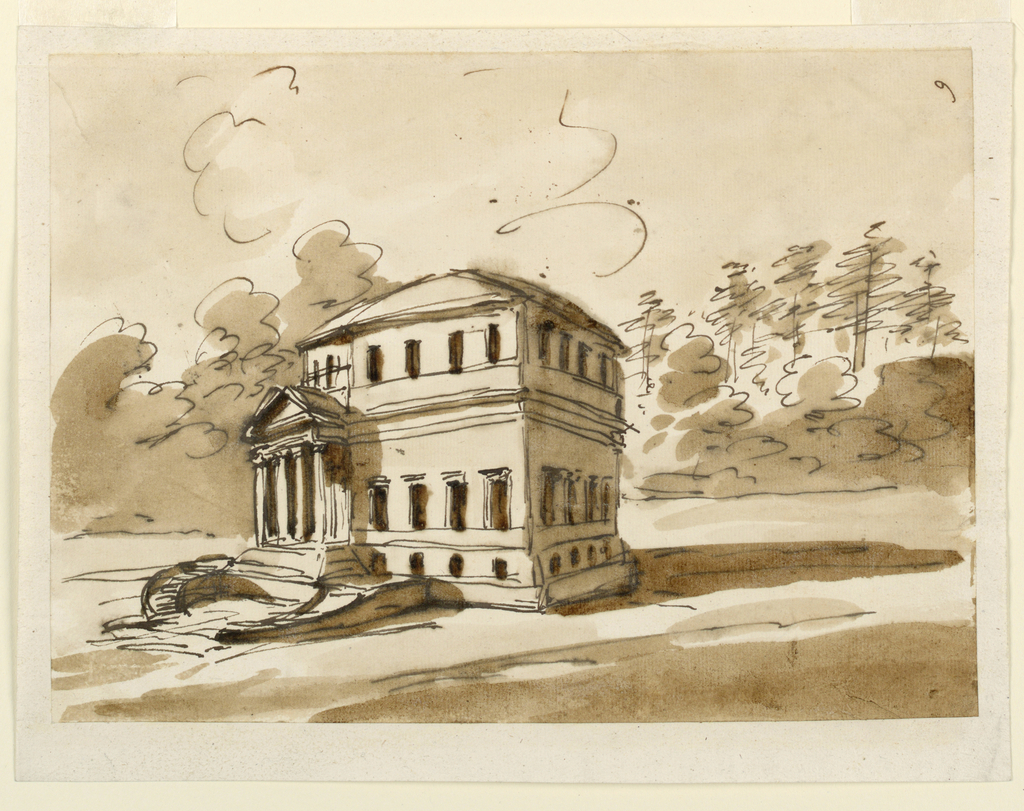 Corner view of a polygonal house. Basement and two stories. Flights of stairs lead to the portico, which has four columns supporting a triangular pediment. Park in the rear.