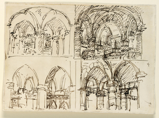 Horizontal rectangle. Four drawings showing architectural details of Gothic interiors, roughly sketched.