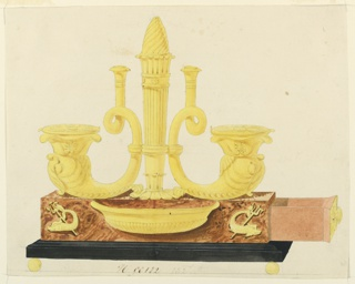 Inkstand on wooden base, right drawer open position. Iconography of the sea. Dragon, pierced with a spear flank central basin. Above, inkpot is in shape of a dolphin body, terminate with a twisted mouthpiece, which served as a pen holder.