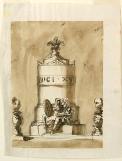 Drawing, Monument of King Louis XIV of France