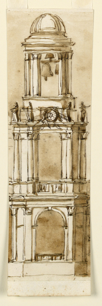 Drawing, Elevation of a bell tower