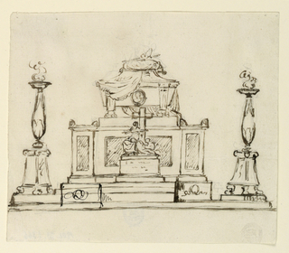 Drawing, Elevation of a Sepulchral Monument, 1820–1835