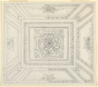 Drawing, Painted oblong ceiling, 1850–75