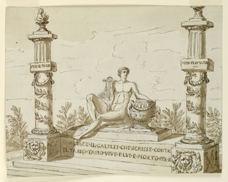 Drawing, Monument for the critic, Galilei