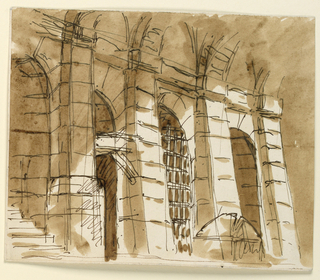 Drawing, Prison interior
