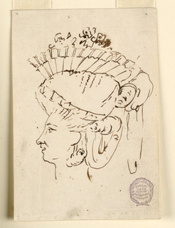 Profile of a woman wearing an elaborate hat and earrings, facing towards the left.
