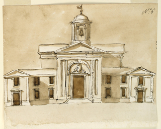 Drawing, Elevation of a church for Monte Vergine