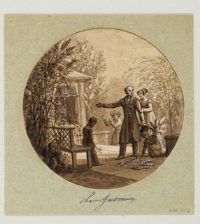 Design for a painted porcelain plate, rondel. A family scene on a terrace surrounded by flowering jasmine bushes. Figures of parents observe the garden while a young girl, right foreground, gathers jasmine sprays from the ground.  A boy, holding a jasmine blossom in his right hand, leans against a garden bench, left foreground.  A gardener, rear center, climbs the terrace stairs.  A garden structure in the Palladian style is in the left background.