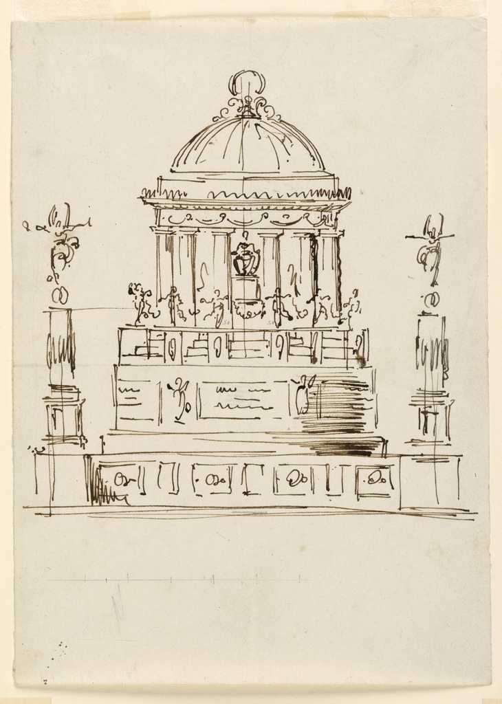 Columns with Fortunes on top rise at the corners of a dado. Two sections of round bases stand upon the dado. Over these is another round section with flights of stairs. Dancing girls hold festoons, standing on walls separating the stairs. A domes pavilion rises on top. A statue of a seated man with a high pedestal stands on it. Circle, underneath.
