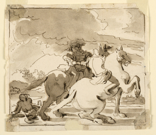 Two equestrian figures astride look leftward at a third figure on the ground. Landscape in background.