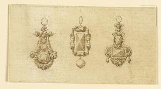 Drawing, Design for three pendants, 16th century