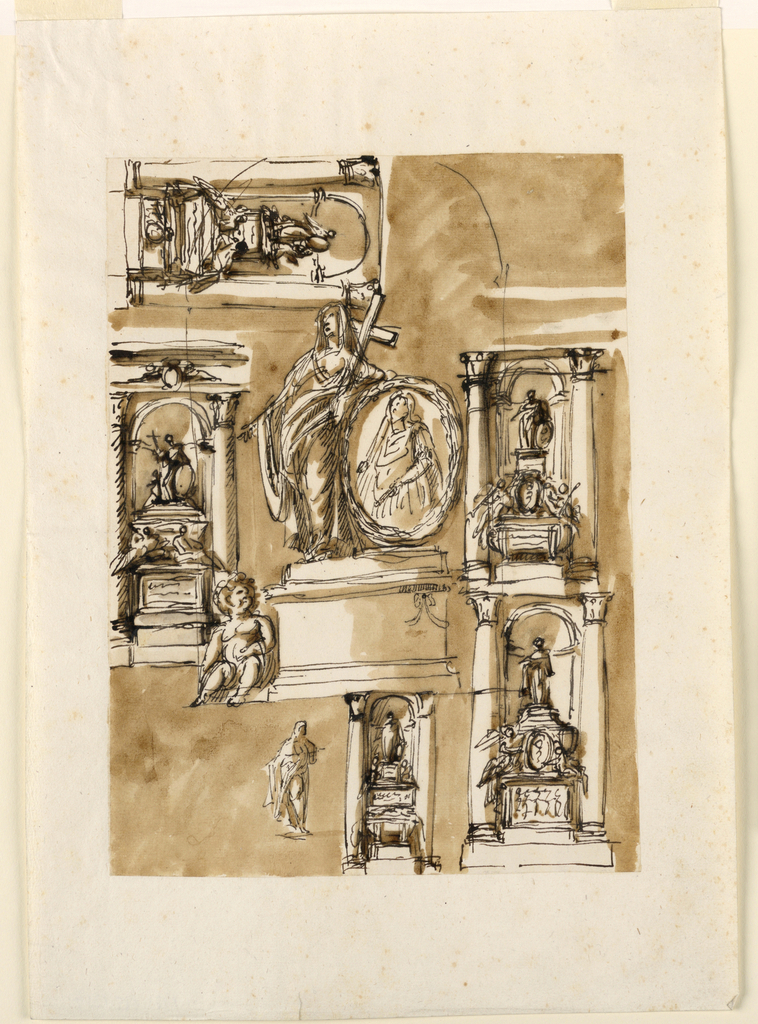 In the center is a round pedestal, with the statue of a woman standing, who carries in her left hand a cross and leans with left arm upon a medallion with the bust portrait of a ruler, standing beside her. At left, beside the pedestal sits a putto. Above, at left, horizontally, a monument, a variation of -1293. Above, left, with a group which is a variation is that usual in -1254. The right lowered arm of the woman is stretched out and a second putti seems to sit at her left. Central row at left: upon a pedestal sit two figures in front of a sarcophagus. Above, is the statue of a woman carrying the cross in her right hand. Beside her, a sitting putto supports a medallion, at right, and another kneels at left. At right, the monument is a variation of -1298 (below, right). The sitting figures are putti with trumpets. They support an escutcheon between them. Above, the statue of a standing woman supporting a medallion beside her with her left hand. Lower row: At left, a sketch for the statue of a standing woman. Center: Below, the sarcophagus stands with a cloth lying upon it. Above is a pedestal with two figures sitting beside upper part. On top, a figure similar to center row right. At right, a variation of center row left. A relief is in the panel of the pedestal. The sarcophagus is tube-like and in front of it a medallion is supported by a genius and a putto. On top is a figure similar to the second project in the lower row in -1254. The projects of the entire monument have the usual architectural setting with a niche. The entablature is shown center left with the eschutcheon between putti in front of the page. The niche for the central part has been roughly outlined by over-drawing the other designs where necessary.