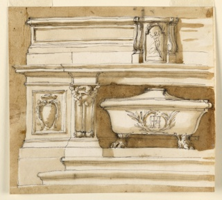 Horizontal rectangle. The left side. A variation of the altar in 1938-88-1373. The main differences are: the sepulchrum has bathtub shape, with a nearly pointed cover, and lion feet as supports. It stands upon a base, in the full width of the hollow. A cherub is on top of the volute beside. The tabernacle is in the middle of the furniture, without being separated from teh lateral parts. The moldings of the furniture have different proportions. The general shape of teh tabernacle and of its decoration is similar to 1938-88-1374, without the cherub. The monogram has a particular shape. Usual background.