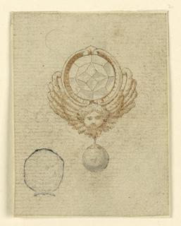 A cherub supports a round escutcheon framing a diamond. Pending is a round diamond.