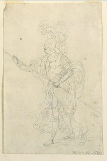 A warrior in full armor and a billowing cloak, though barefoot, is walking to the left, carrying a spear.