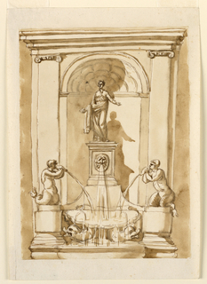 A niche with pilasters framed a statue (Flora?) who stand upon a pedestal. Below, water flows from a mask, and two conch shells held by mermen. A basin supported by two dolphin collects the water.