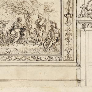 At top of page, design for a ceiling divided into segments following the golden ratio. At left, a hemisphere with two figures. At the bottom, two satyrs flank a vase. At bottom of page, the elevation of a wall showing two doors with oval overdoor panels. At center, a painted scene with figures in a landscape. Scale at bottom.
