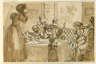 In a room with the window opened into a landscape, gathered around a dining table, are two seated women, a grown-up girl, and eight children eating melons.