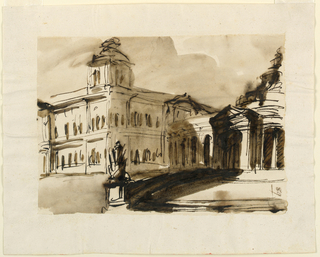 Drawing, Parts of a memorial hall and a palace